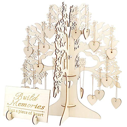 ghfcffdghrdshdfh Wedding Guest Book Tree Visit Sign Guest Book Wooden Hearts Pendant Drop Ornaments for Wedding Party Decoration Supplies