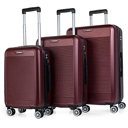 ITACA - Juego Maletas de Viaje Trolley Set 55/67/76 cm ABS. Rígidas, Resistentes y Ligeras. Mango, Asas, 4 Ruedas. Candado. Pequeña Cabina Low Cost Ryanair, Mediana y Grande T72000, Color Rojo