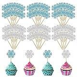 Cupcakes de Copos de Nieve LANMOK 60 piezas Toppers para Pasteles Cake Topper de Navidad Palillo de Dientes para Decoraciones de Tarta Cumpleaños Fiesta de Congelada Invierno
