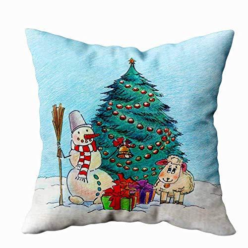 Butlerame 18X18 Kissenbezug, Kissenbezüge Plaid Kissenbezüge Lustiger Schneemann mit Glocke und Besen in der Nähe des Weihnachtsbaums Geschenke Körperkissenbezug