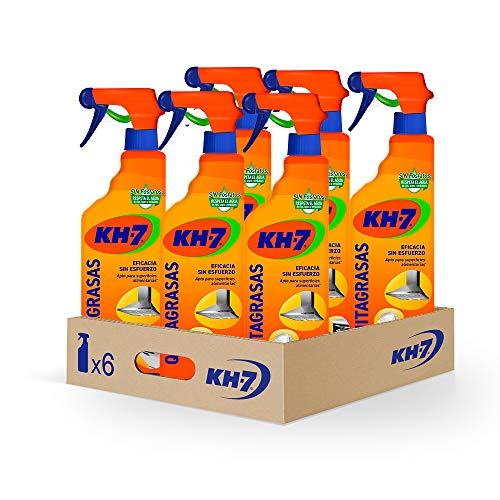 KH-7 Quitagrasas - Máxima Eficacia Sin Esfuerzo para Todo Tipo de Superficies y Tejidos, Apto para Superficies Alimentarias, Formato Pulverizador Cómodo y Práctico - Pack de 6 Unidades x 750 ml