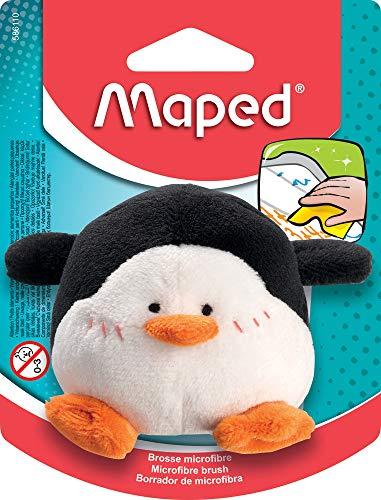 Maped - Brosse Peluche Pingouin en Microfibre - Éponge Effaceur Ardoise - Brosse Tableau Blanc - Lavable en machine - à Partir de 3 ans