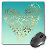 3dRose Image of Mint Green Gold Inspirational Words Heart Mouse Pad (mp_280736_1) [並行輸入品]