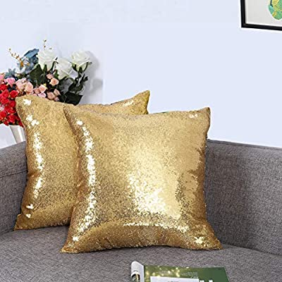 Eternal Beauty Set of 2 Sequin Decorative Pillow Cover Gold Throw Pillow Covers for Couch Sofa Throw Pillows 18 X 18 Inches