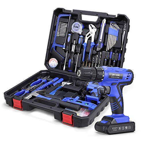 """jar-owl 112Pcs Blue Power Tools Drill Combo Kit with 21V Cordless Drill Tool Set with Drill, 3/8"""" Keyless Chuck, 1.3 Ah Li-ion Battery and Hand Tool Kits for Home Repair"""