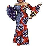 VERWIN Plus Size Floor-Length Print Half Lantern Sleeve Floral Women's Maxi Dress Expansion Dress (5X-Large, Indigo)