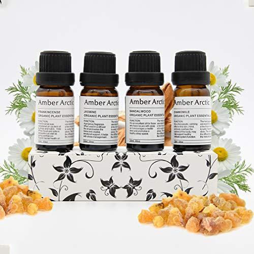 Jazmín Sándalo Manzanilla Incienso Aceite Esencial Para Difusor, 100% Puro Aceite Vegetal Orgánico Fresco 10 ml X 4