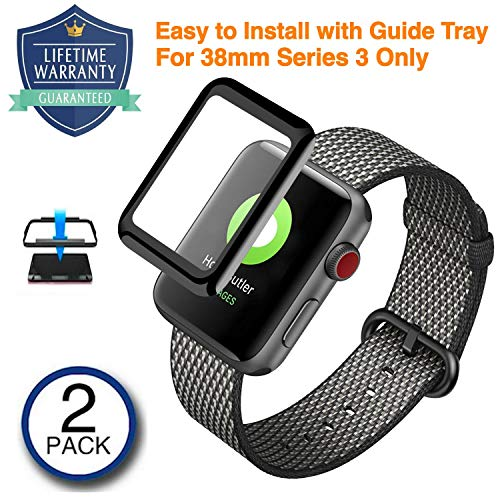 Vanford - [2 Pack] Apple Watch Screen Protector (38mm Series 3) [Edge to Edge Full Screen Coverage] 3D Curved Edge Tempered Glass with [Easy Guide Tray] Ultra Clear Bubble Free for Apple Watch