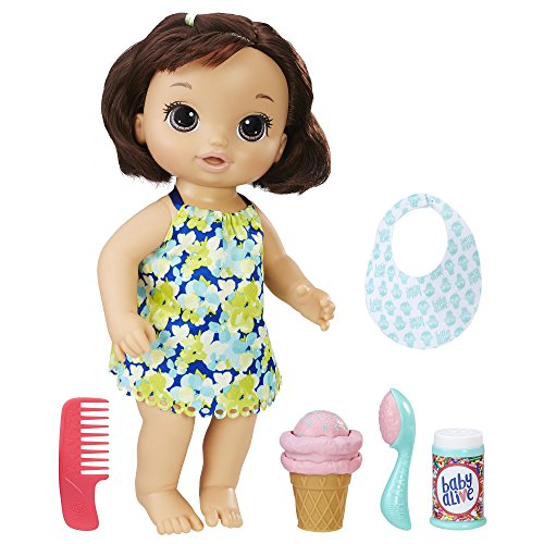 Baby Alive Magical Scoops Baby: Brunette Baby Doll with Dress and Accessories: Ice Cream Cone, Scooper, Comb and More, Perfect Toy for 3-Year-Old Girls and Boys and Up