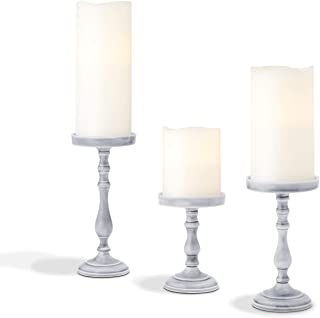 Pillar Candle Holder Set of 3 - Rustic Farmhouse Candleholders in 5, 6.5 and 8 Inch Tall, Grey Ceramic Finish, for Coffee Table Decor, Wedding Centerpieces, and Holiday Decoration