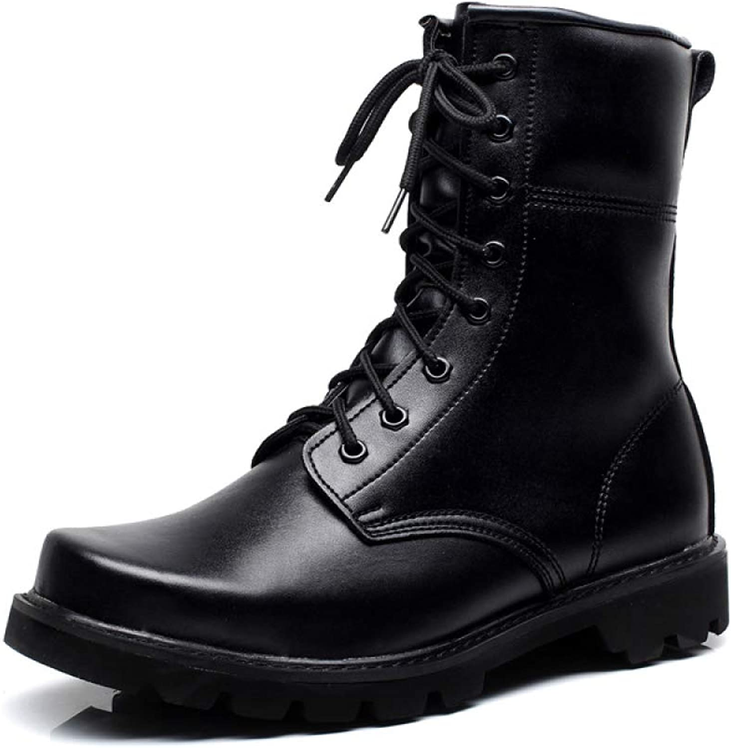Yra Men's Genuine Leather Martin Boots Lace Up Military Boot Work Boot Vintage Ankle Boots Side Zipper Utility Footwear