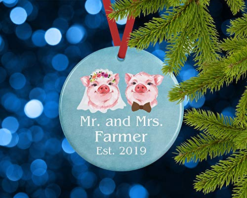 Dkisee Mr And Mrs First Christmas Married Personalized Ornament 2019, Bride And Groom, Pig, Wedding, Anniversary Newlywed Gift 3 inch