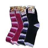 Art of Baan® 5075 5 Paar flauschige Kuschelsocken gestreift, farbig gemischt, Größe 39-42