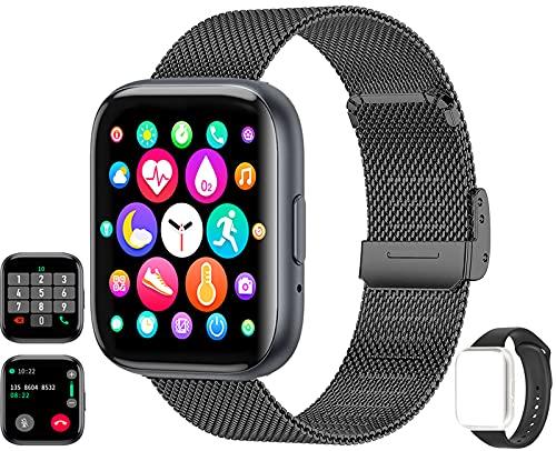 Smartwatch(Empfangen/Tätigen eines Anrufs), 1.54-Zoll Touchscreen Armbanduhr, Fitness Tracker mit Pulsuhr Blutdruckmessung, Sportuhr mit Schrittzähler Schlafmonitor für Damen Herren Android iOS