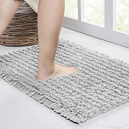 Walensee - Alfombra de baño antideslizante (44 x 24 pulgadas, color gris claro), absorbente de agua, súper suave, felpilla peluda lavable a máquina, seca extra gruesa, perfecta absorbente, la mejor alfombra de felpa grande para suelo de ducha