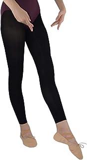 DANCEYOU Schwarze Tanzstrumpfhosen 2 Paar Ballettstrumpfhose Stützstrumpfhose Legging ohne Fuß/mit Steigbügel für Mädchen Kinder und Damen ohne Fuß 70DEN