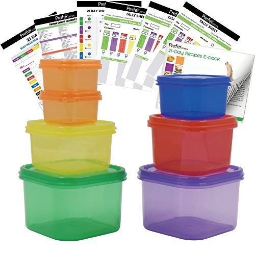 Save %27 Now! Prefer Green 7 PCS Portion Control Containers Kit (with COMPLETE GUIDE & 21 DAY DAILY ...