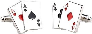 MRCUFF Aces 4 Four Playing Cards Poker Gambling Casino Pair Cufflinks in a Presentation Gift Box & Polishing Cloth