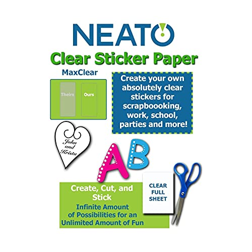 Printable Transparent Sticker Paper - 8.5' X 11' Blank Custom Label Sticker Sheets - 10 Clear Sheets - for Inkjet and Laser Printers - Weatherproof - Tear Resistant- Includes Online Design Software