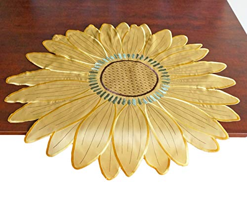 GRANDDECO Sunflower Table Topper,Embroidered Cutwork Sunflower and Yellow Fabric Tablecloth for Summer Holiday Parties Coffee Table Decoration,Round 31
