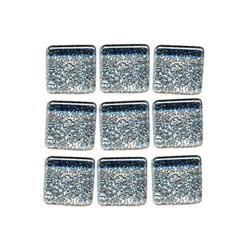 MosaixPro 10x 10x 4mm große, Silberne Glasfliesen mit Glitzer, in Einer 200g Packung mit 215 Teilen