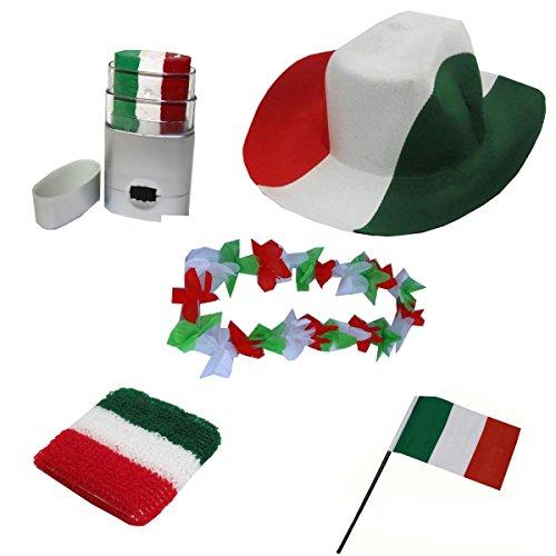 Sonia Originelli Fan-Paket-2 WM Länder Fußball Hut Kette Schminke Schweißband Flagge Farbe Italien