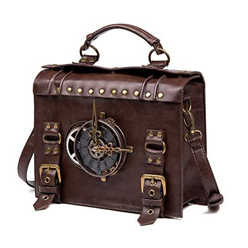HUAXM Weinlese Steampunk Rucksack Retro Gothic Handgefertigte Leder Messenger Bag Mittelalter Umhängetasche Handtasche für Laptop-Aktenkoffer Umhängetasche