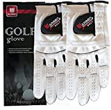 2 Pack Golf Gloves for Men - Premium Cabretta Leather Glove Left Hand (Natural White (Worn on Left Hand), 24=Large)