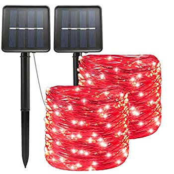 Red Solar Halloween Christmas String Lights Outdoor Waterproof 100 LED(2 Pack) 8 Modes Copper String Lights Fairy Lights for Valentine s Day Garden Patio Fence Balcony Outdoors red 2pcs