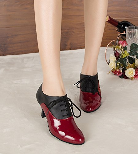 Minitoo TH159 Schnürschuh für Damen, modern, Leder, Pumps, Tanzschuhe, geeignet für Hochzeiten, Bälle, Lateinamerikanische Tänze, Tango, Rot – rot – Größe: 39 1/3 - 4