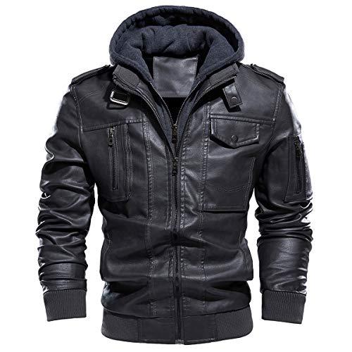 TREKEK Jaqueta masculina de couro sintético, jaqueta bomber de motocicleta forrada com lã com capuz removível, Dark-grey, 3X-Large