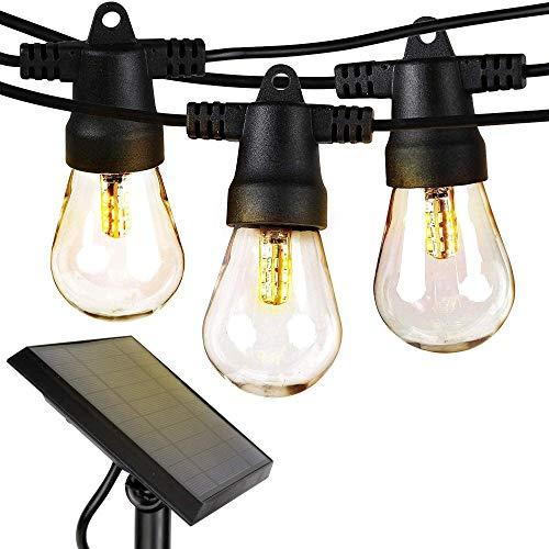 Ambience Pro - Luces de cuerda al aire libre con energía solar a prueba de agua - Las bombillas Edison de 48 pies vintage crean ambiente de bistró en su patio - Grado comercial irrompible-27 pies-D3
