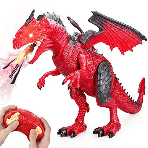 Baztoy Kinder Ferngesteuertes Dinosaurier Spielzeug Elektronik Dino Spiel Fernbedienung Tier Spielzeug mit Gehen, simuliertem Brüllen, Sprühen, Kopfschütteln, Cool Geschenk für Jungs Mädchen Kinder