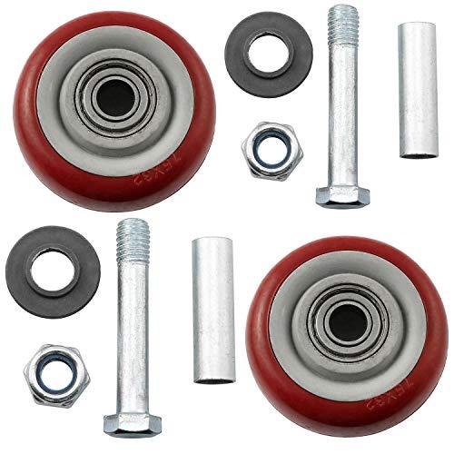 Magic&shell Ruedas de repuesto para carrito de empuje, 2 unidades, color rojo, resistente al desgaste, PU