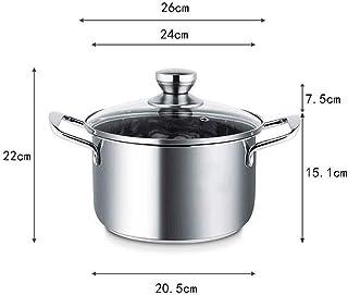 Pot, Acero Inoxidable Sopa De Olla De Cocina Olla con Tapa De Vidrio, Calor Manijas De Prueba, Crisol De La Sopa Cacerola Binaural, Hogar Cocinar Cocina De Gas Olla Universales (Size : 20 * 24cm)