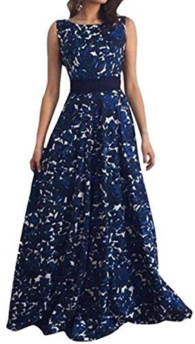 WOCACHI Frauen Blumen lange formale Abschlussball Kleid Partei Ballkleid Abend Hochzeitskleid (M, Blau)