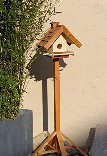 Vogelhaus mit Ständer BTV-X-VOWA3-MS-dbraun002 Großes PREMIUM Vogelhaus mit Ständer + 5 SITZSTANGEN + SICHTSCHEIBE RUND / GLAS + FUTTERVORRAT-Riesensilo / Futterschacht Futterautomat MASSIV + WETTERFEST, QUALITÄTS-SCHREINERARBEIT-aus 100% Vollholz, Holz Futterhaus für Vögel, MIT FUTTERSCHACHT Futtervorrat, Vogelfutter-Station Farbe braun dunkelbraun behandelt / lasiert schokobraun rustikal klassisch, MIT TIEFEM WETTERSCHUTZ-DACH für trockenes Futter, mit Futterschacht zum Nachfüllen oben