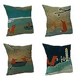 Nunubee Kissenbezug Spezial Stil Fuchs cushion cover Sofa Büro Dekorativ 45*45cm Vielfalt...