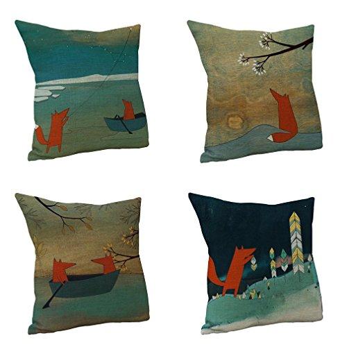 Nunubee Fox Cushion Cover Cotton Linen Pillow Covers 45x45 CM Throw Pillows Case For Sofa (4pcs Set)