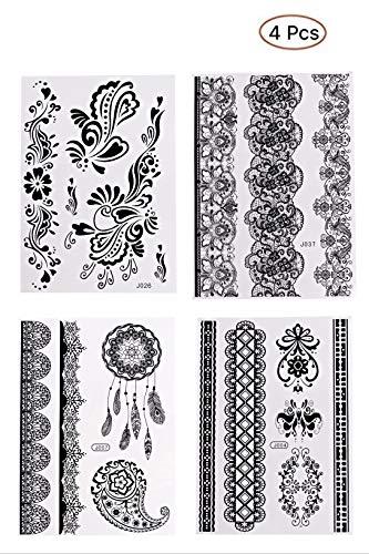 4 Hojas del brazo Pegatinas para tatuajes temporales, Pegatina para tatuajes a prueba de agua para Hombres, Novia, Etiqueta para el arte corporal, Hombro del brazo, Decoración del cuerpo