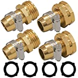 Hourleey Garden Hose Repair Connector with Clamps, Fit for 3/4' or 5/8' Garden Hose Fitting, 2 Set