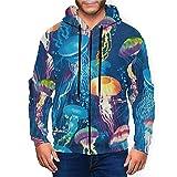 Sudadera con capucha para hombre con cremallera completa con capucha y diseño clásico con capucha, Medusa Ocean Blue Medusa Sea Black, XXXL