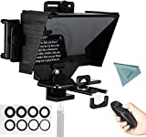Vitopal TC3 Universal Portable Teleprompter Prompter Beam Splitter for Smartphone/Tablet/DSLR Camera Video Recording Live Streaming Presentation Stage Speech with Remote Control& Lens Adapter Rings