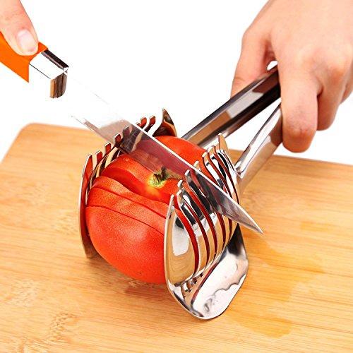 Best Utensils, pinza multiuso tonda per affettare pomodori, tagliare limoni, frutta e cipolle, in acciaio inox 18/8;