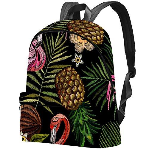 Monstera Chameleon Rucksack für Damen und Herren, Schwarz Black Pink Flamingo Ananas 17.3x13.7x5.5 in