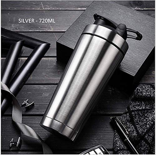 SLM-max Portable water cup,Quality Protein Shaker Bottle Stainless Steel Sports Water Bottle Shaker Cup with Mixing Ball Vitamin Supplements Mixer