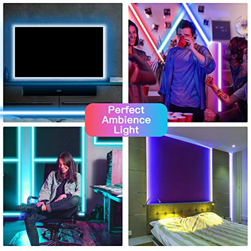50ft Bluetooth LED Strip Lights, Music Sync 5050 LED Light Strip RGB Color Changing LED Lights Strip with Phone Remote, LED Lights for Bedroom Kitchen TV Party TIKTOK DIY (APP+Remote +Mic) 2
