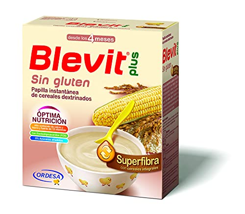 Blevit Plus Superfibra Sin Gluten - Papilla de Cereales para Bebé Con Arroz Integral y Maíz, Sin Azúcares Añadidos - Facilita la Digestión - Desde los 4 meses - 600g