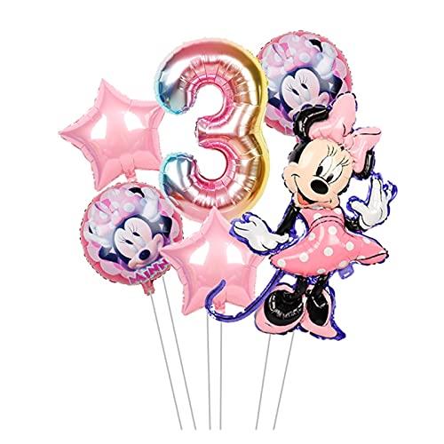 gzynyl Globos Mouse Foil Balloons Mickey 1ª Fiesta de cumpleaños Decoraciones Niños Número de Ballon Número 1 Globo Baby Shower Confeti Latex Ball Juguete (Color : Minnie 3)