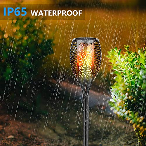 Eicaus Solar Torch Light Outdoor, 96 Led Tiki Torches with Flickering Flame, Waterproof Landscape Garden Pathway Decoration Lighting with Auto On/Off Dusk to Dawn